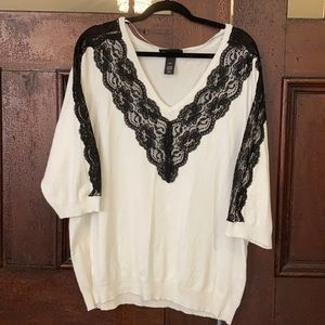 Lane Bryant sweater with lace detail 3/4 sleeve